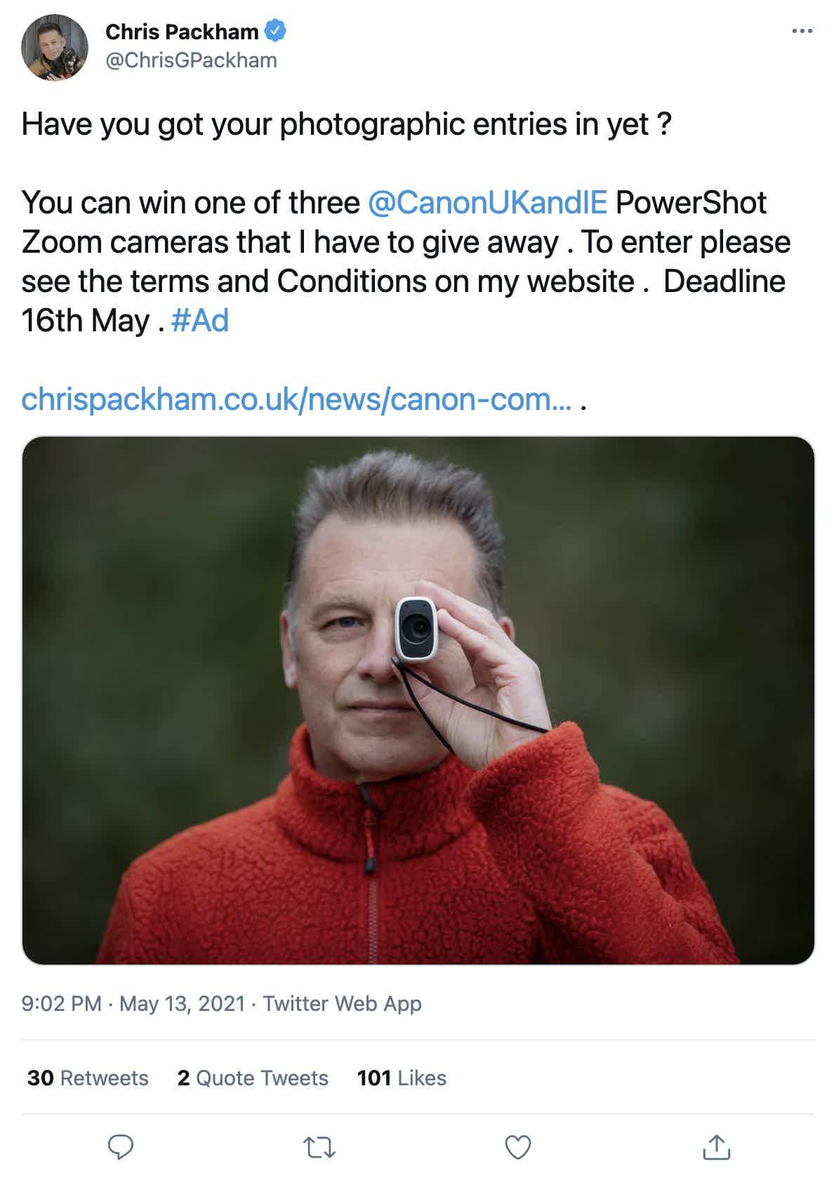 Chris Packham Camera Giveaway