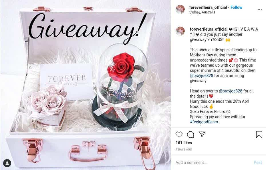 Instagram Mothers day giveaway