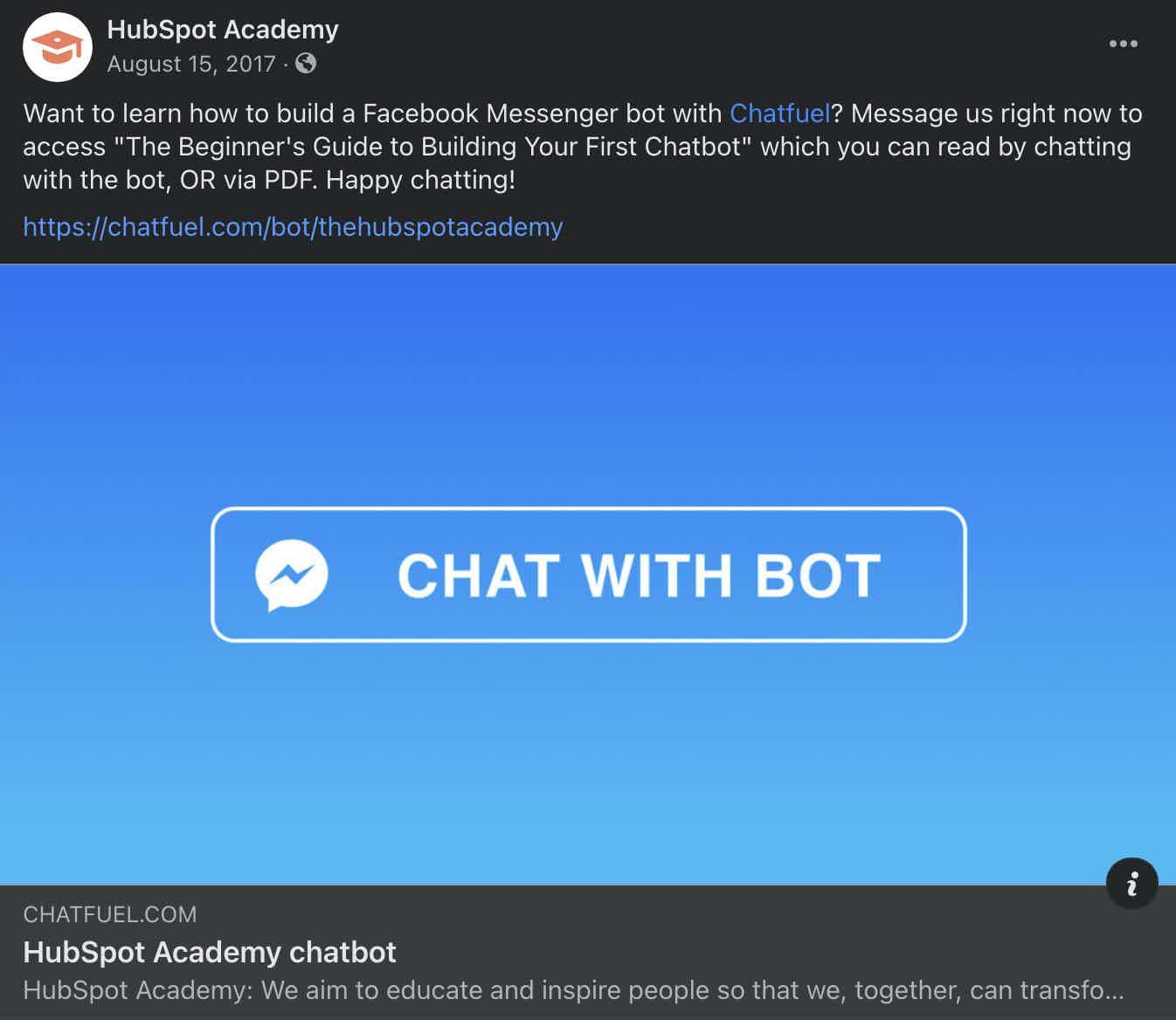 Hubspot and Chatfuel Collab Facebook