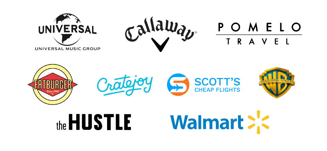Logos from several companies that use VYPER, including Universal Music Group, Callaway, Pomelo Travel, Fatburger, Cratejoy, Scott's Cheap Flights, Warner Bros, theHustle, and Wal Mart
