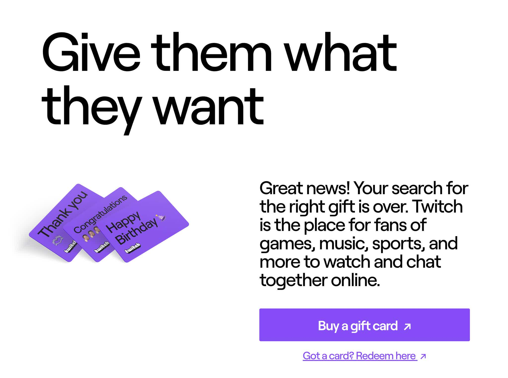 Twitch gift cards