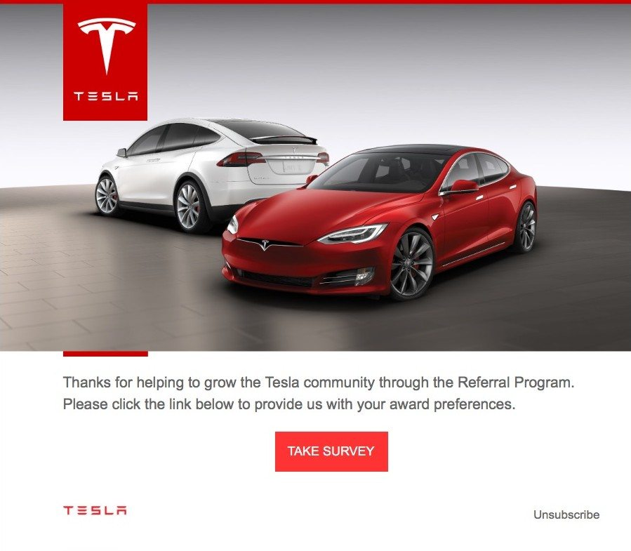 Tesla Referral Program Award Email.