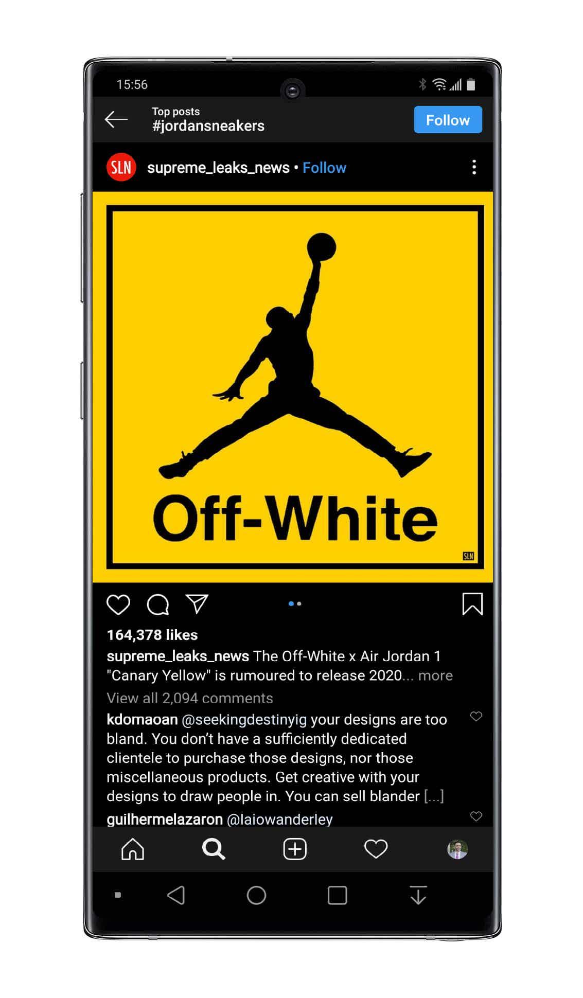 Instagram Jordan Sneakers top post