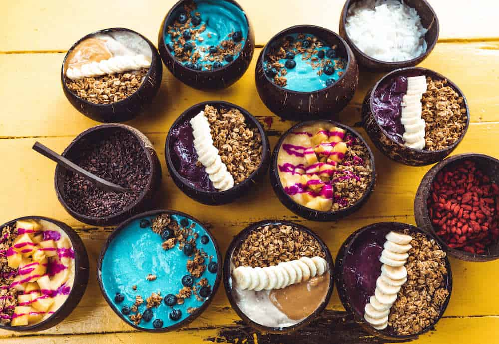 Picture of various bowls of acai, repesenting the company, Cocount Bowls