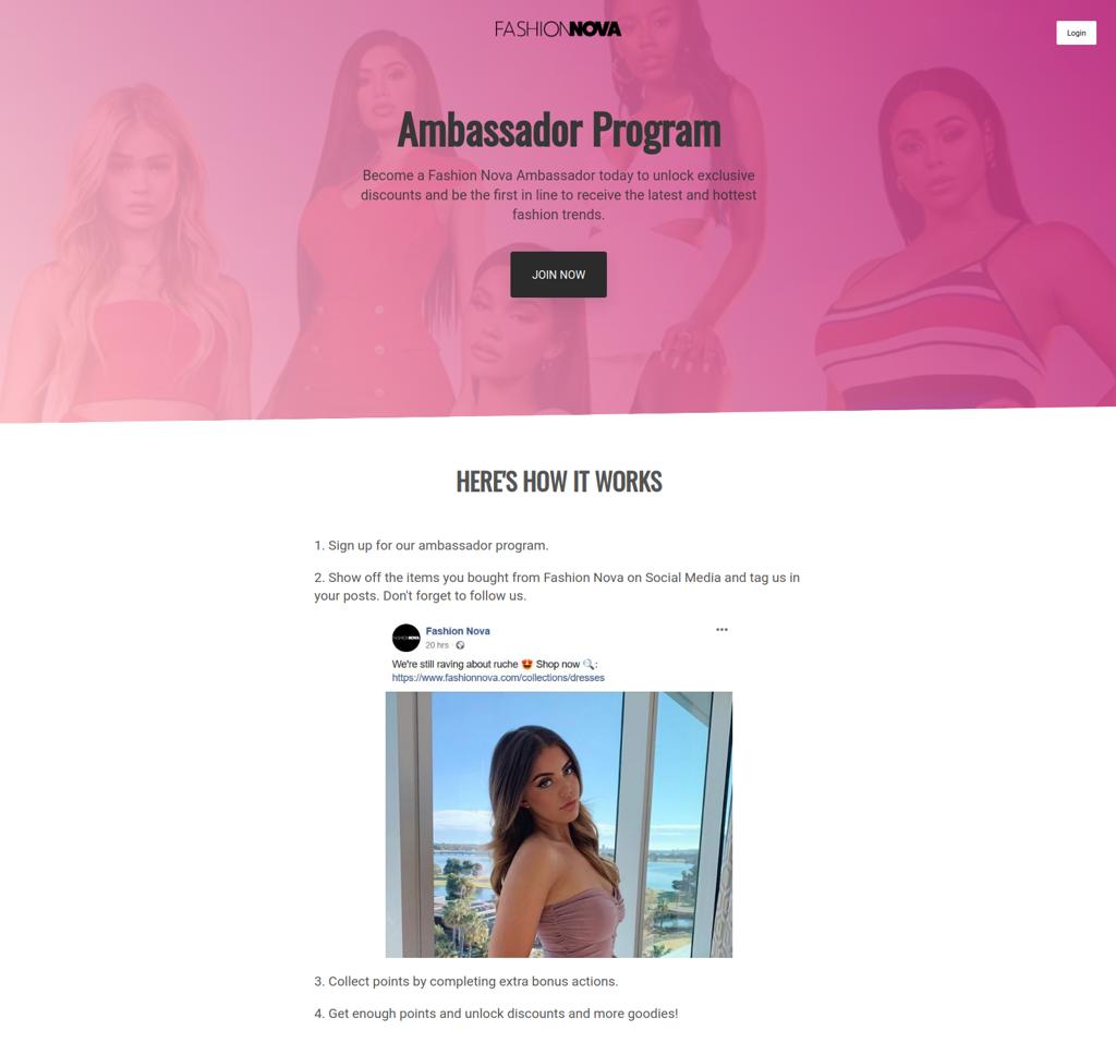 Fashion Nova Ambassador program