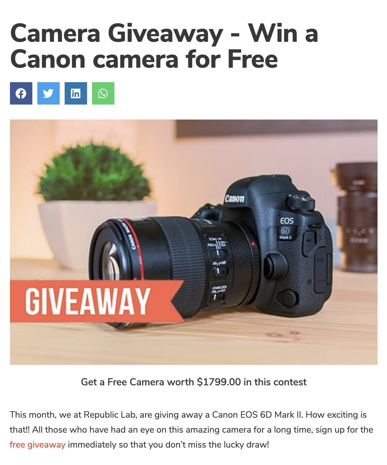 Republic lab camera giveaway