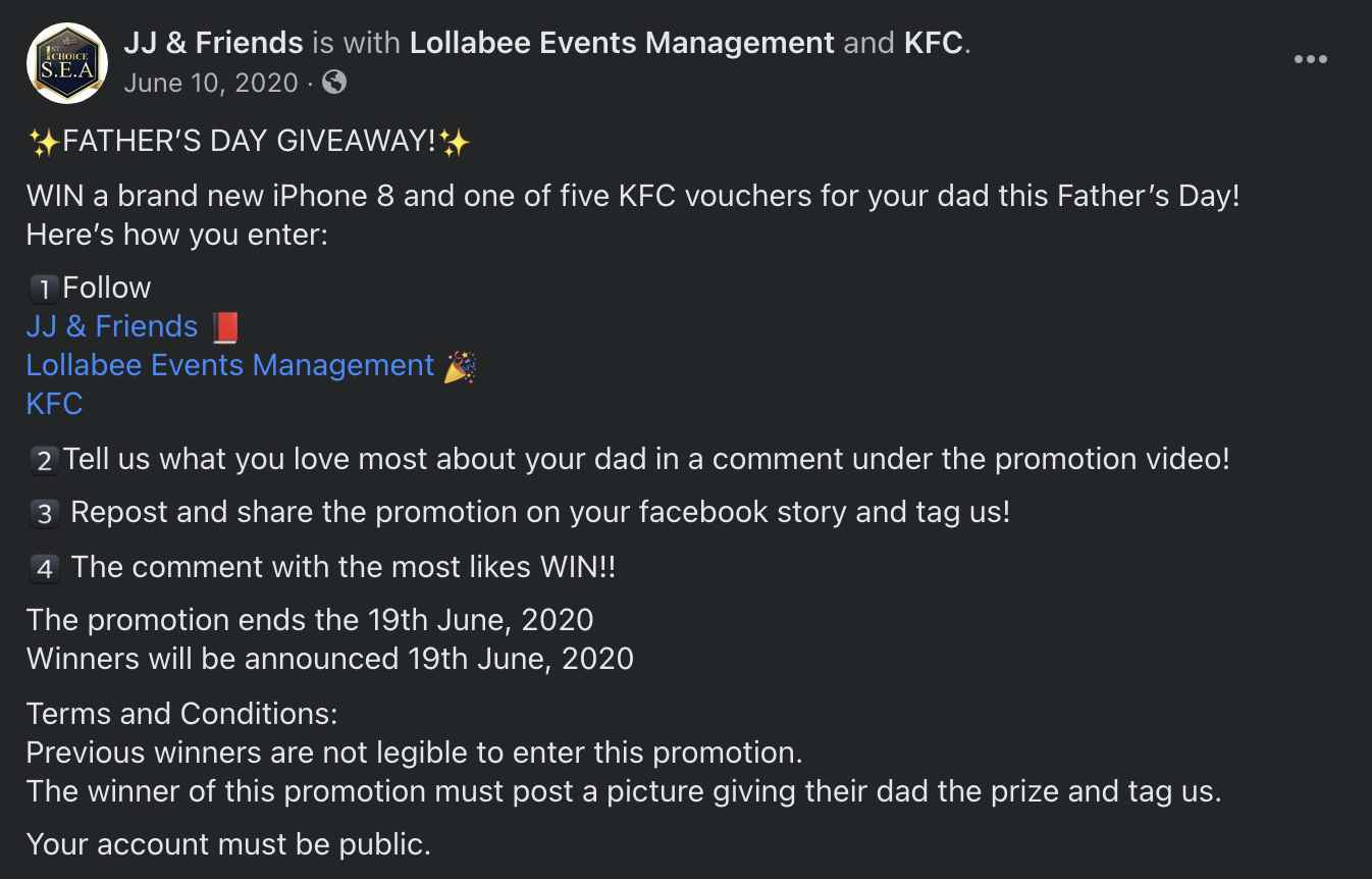 JJ & Friends Fathers Day Giveaway Facebook