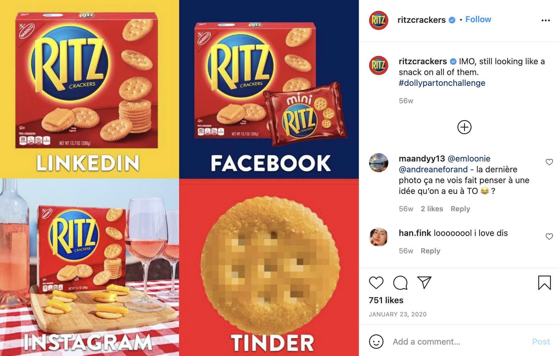 Ritz Crackers Instagram Post