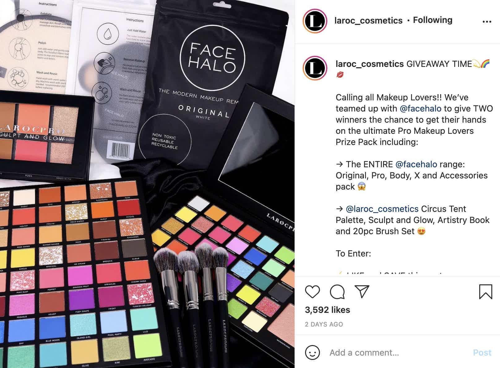 Laroc Makeup Giveaway Instagram