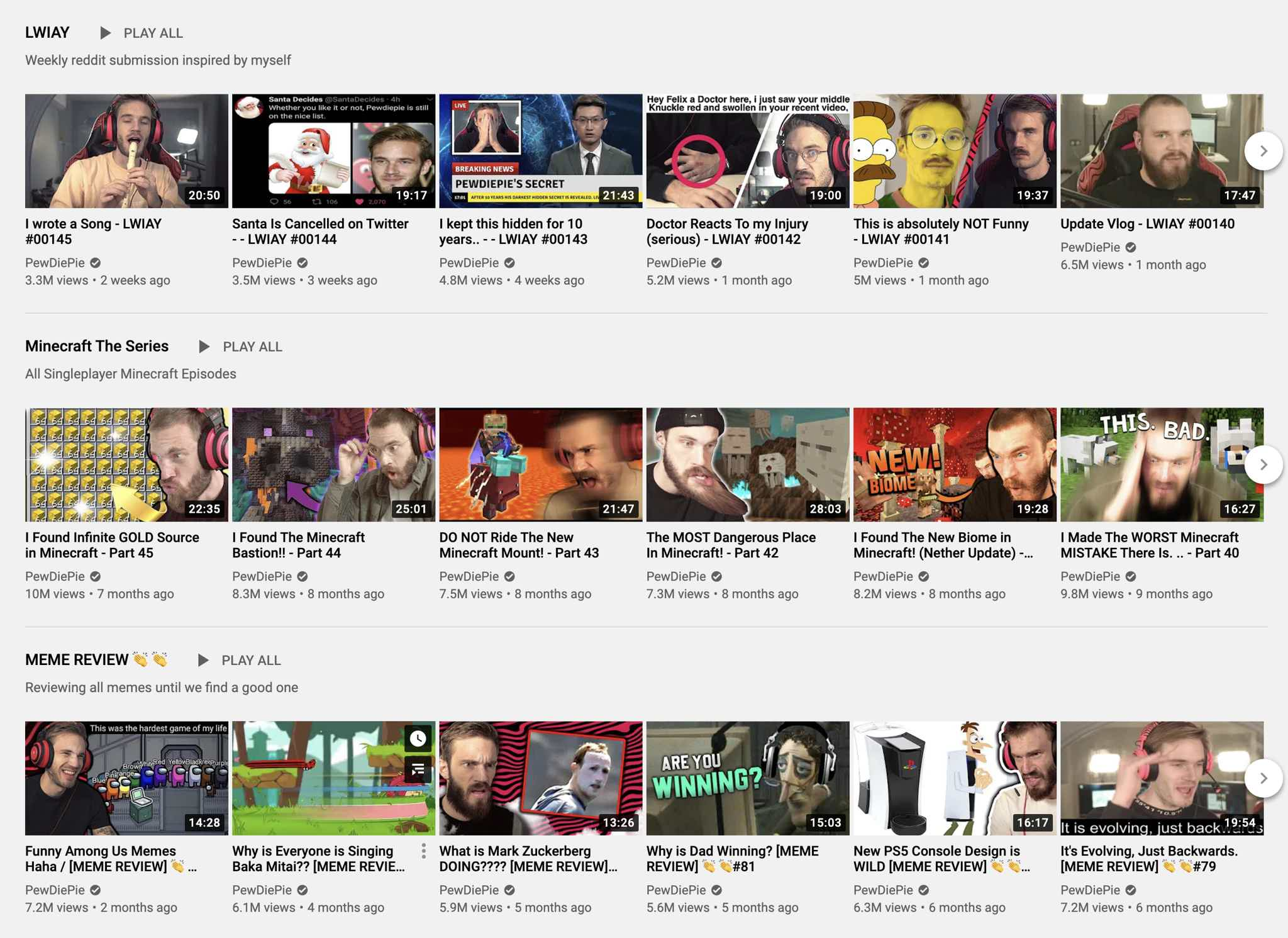 Pewdiepie Playlists