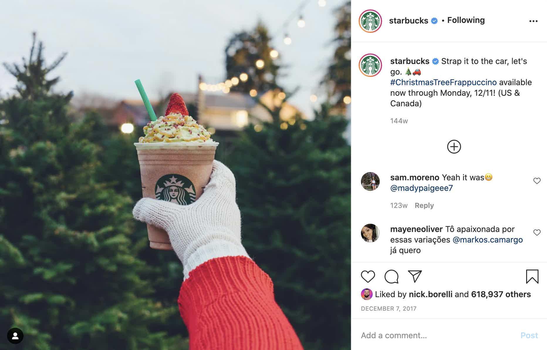 Starbucks Christmas Instagram Post