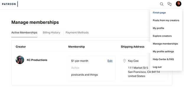 Patreon Manage Membership