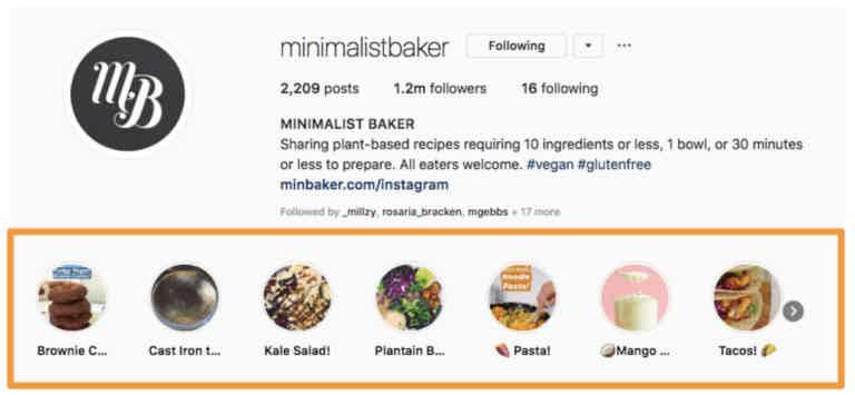 Minimalist baker instagram profile highlights