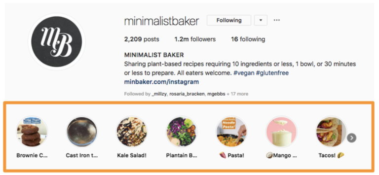 Minimalist baker instagram profile highlights