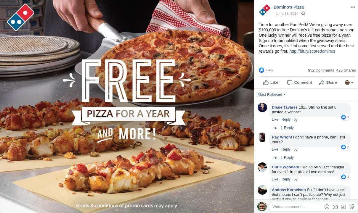 Dominos pizza giveaway facebook
