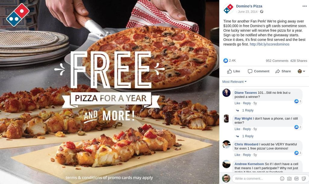 Dominos pizza giveaway facebook
