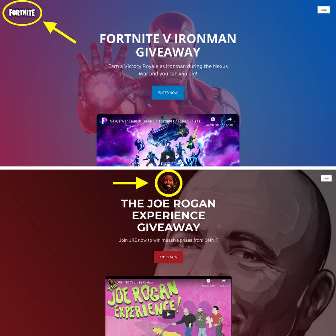 Giveaway Landing Page Logo Placement
