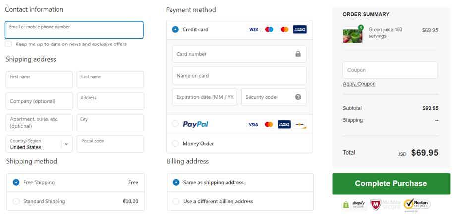 Shopify Checkout Process Example