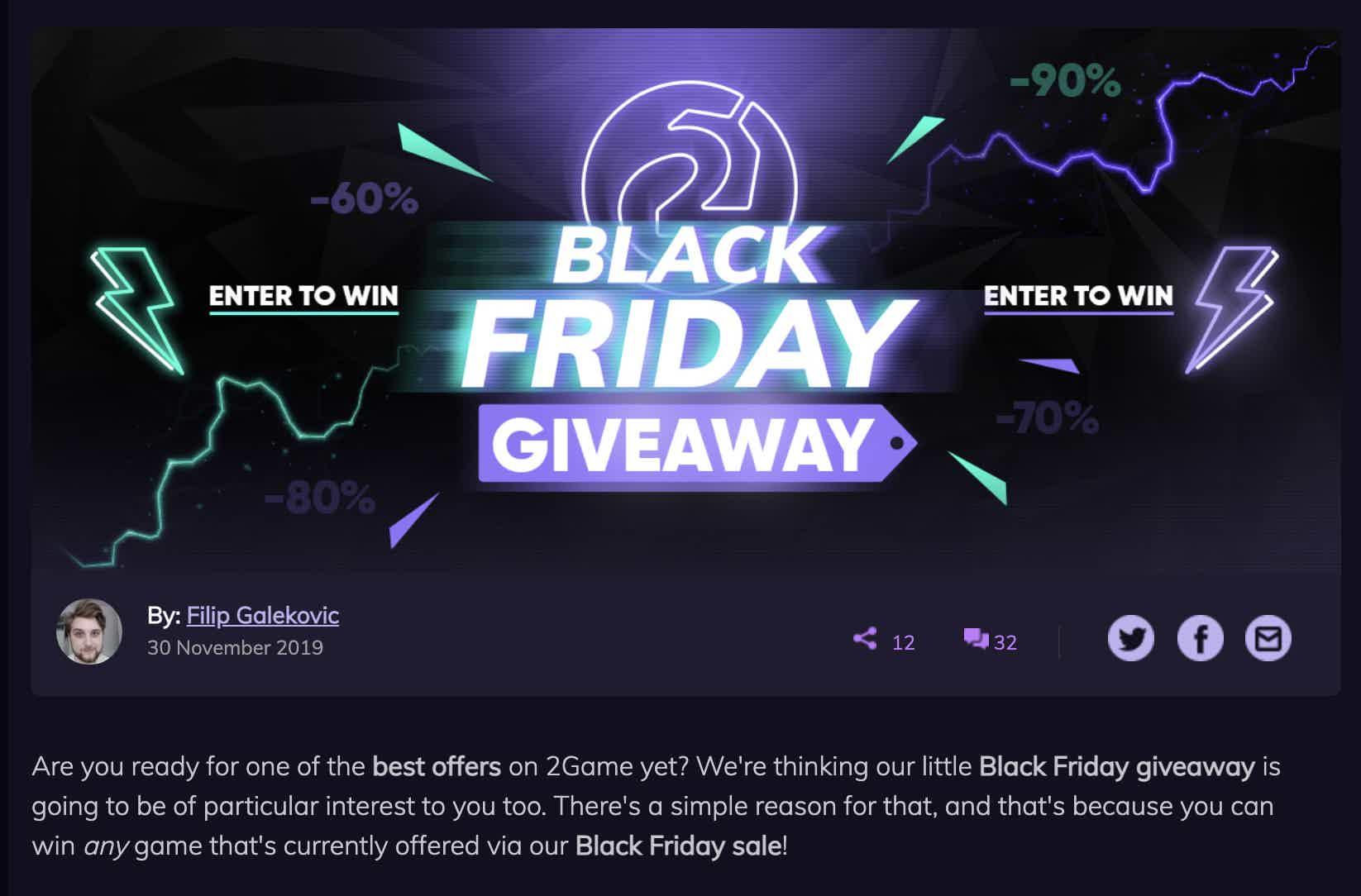 2 Game Black Friday Giveaway