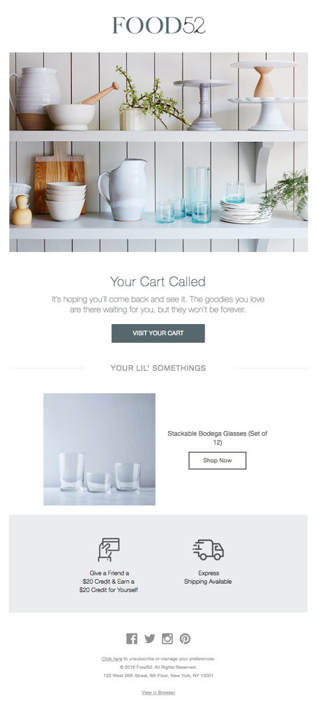 Food 52 Abandoned Cart Email