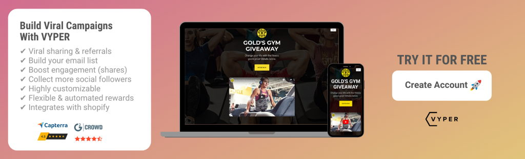 VYPER Free Account Signup Golds Gym