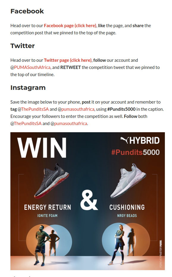 The Pundits Giveaway Entry Requirements