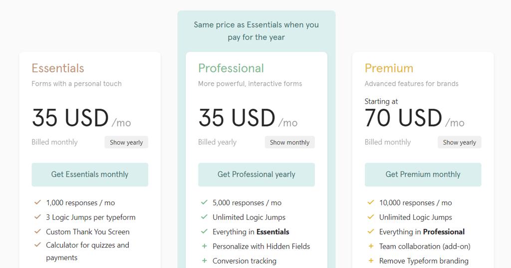 Typeform Pricing