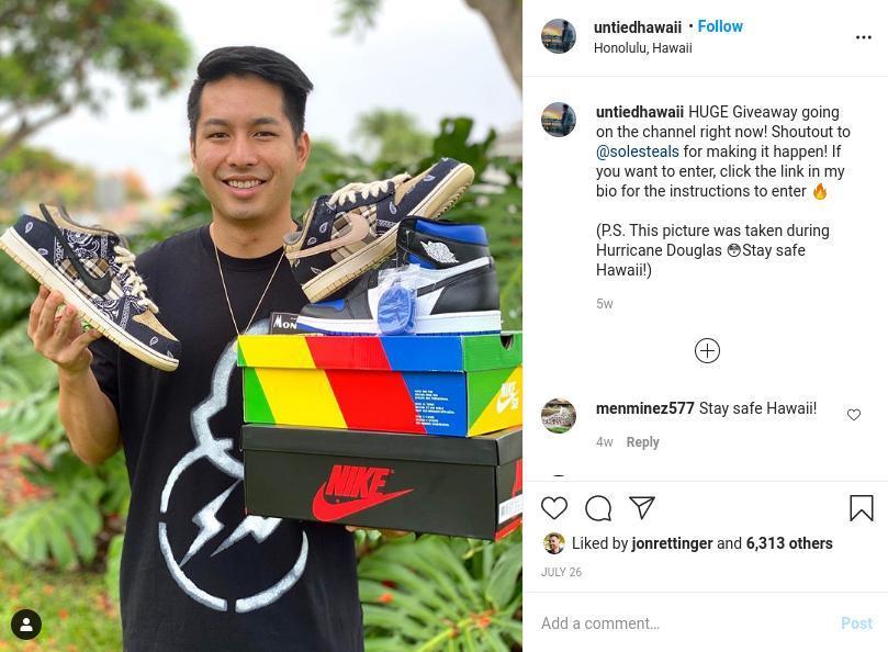 United Hawaii Giveaway Instagram Post
