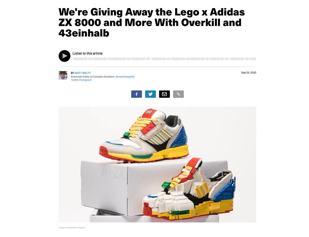 Complex Lego x Adidas Giveaway