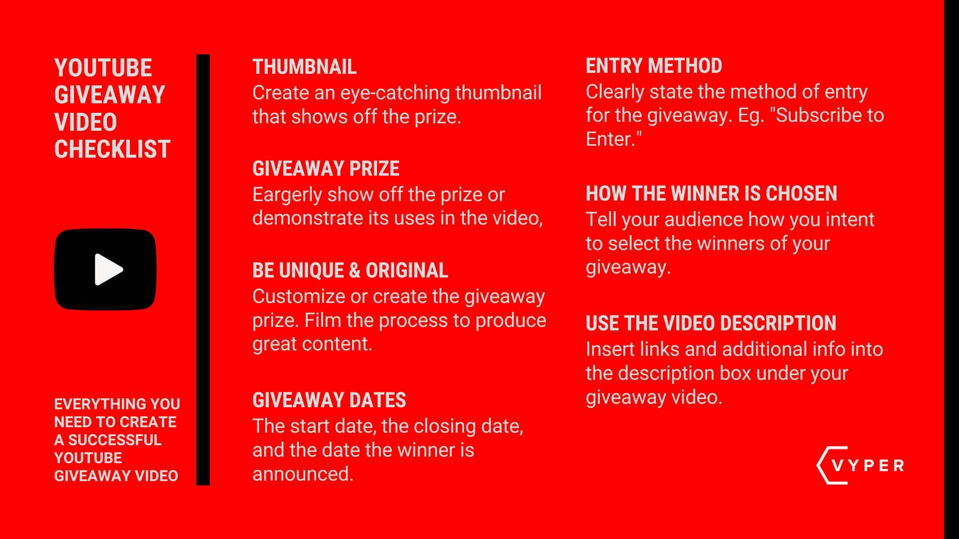 YouTube Giveaway Checklist