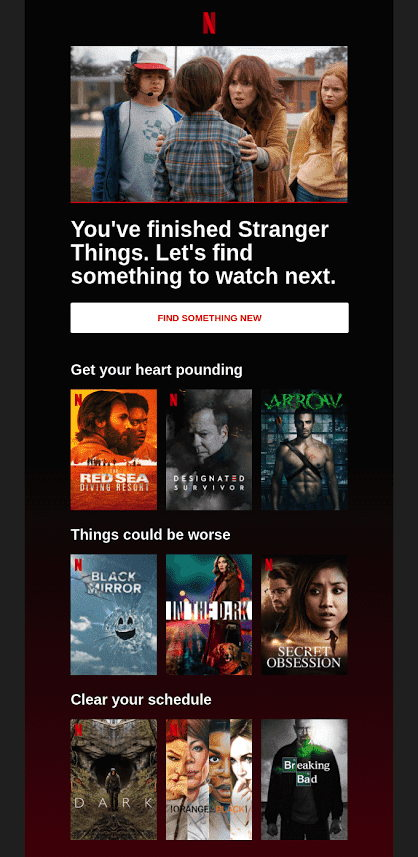 Netflix Reccomendation email