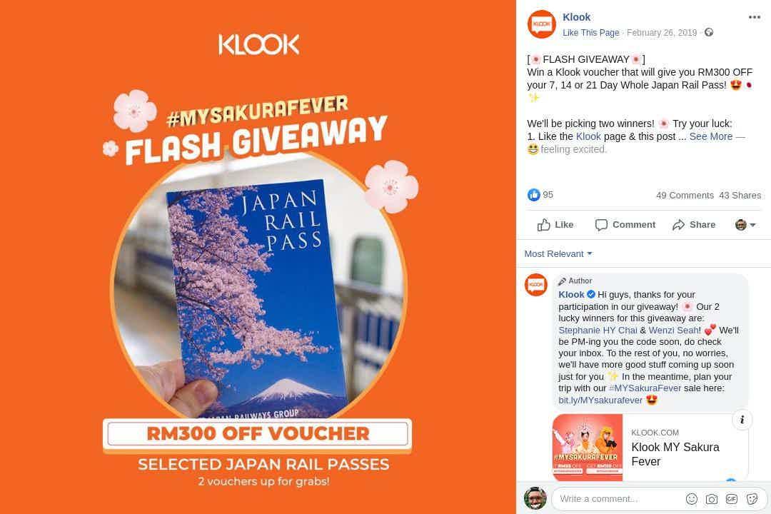 Klook Facebook Flash Giveaway