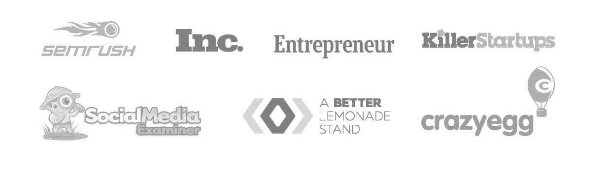 List of companies that have featured VYPER, including Semrush, inc, Entrepreneur, KillerStartups, Social Media Examiner, A Better Lemonade Stand, CrazyEgg