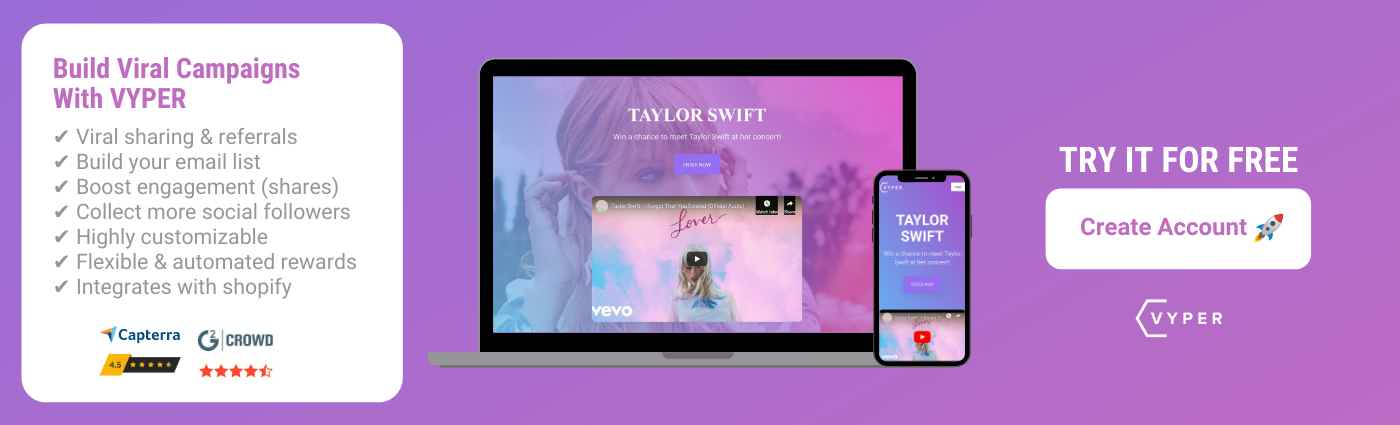 VYPER Free Account Signup Taylor Swift