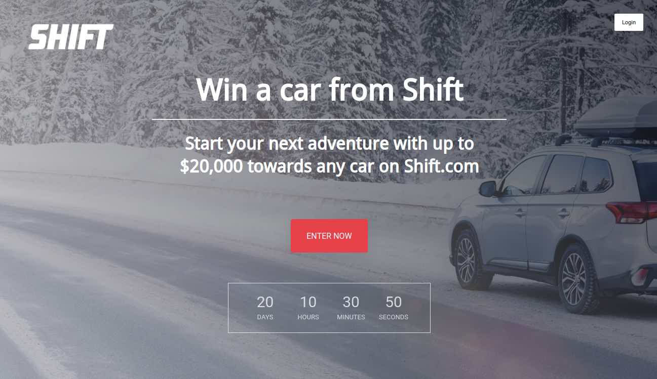 Shift Giveaway landing page