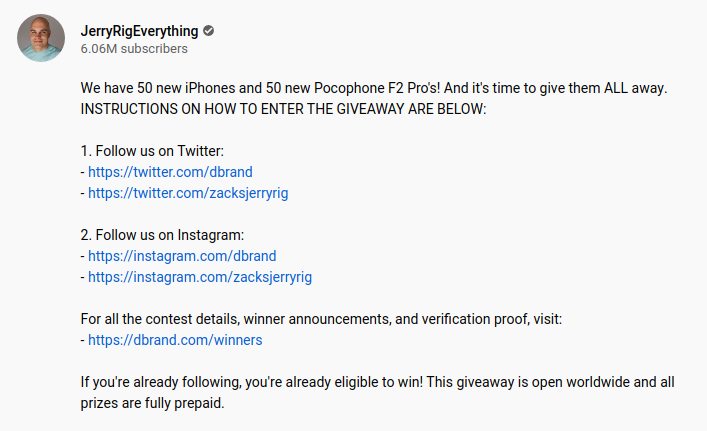 Jerry Rig Everything Giveaway description