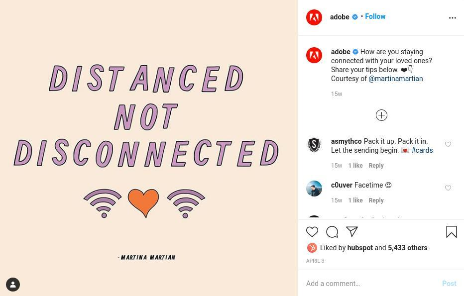 Adobe Social Distancing Post
