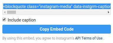 Instagram egg embed code