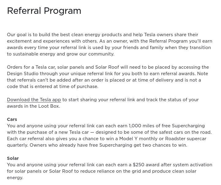 Referral Program Tesla