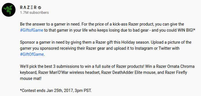 Razer gift of game giveaway