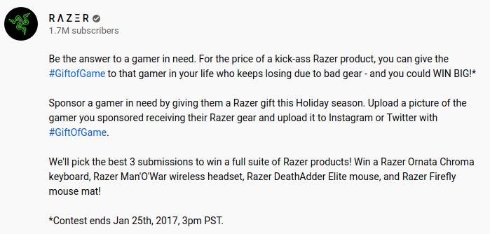 Razer gift of game giveaway